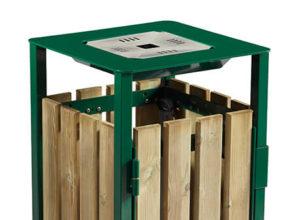 Corbeille en bois exterieur avec cendrier