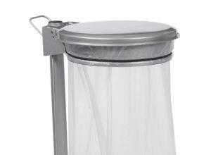 Support sac poubelle mobile à pédale en acier 50 litres gris