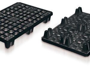 Palette Packpal ajourée emboîtable 9 pieds 1200×800 mm noire